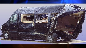 A three-dimensional scan provided by the National Transportation Safety Board of the Mercedes-Benz limo bus Tracy Morgan and six others were riding in on Saturday, June 7, 2014. (Credit: NTSB)