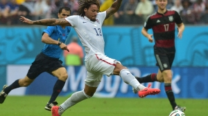 US midfielder Jermaine Jones (C) plays the ball during a Group G football match between US and Germany at the Pernambuco Arena in Recife during the 2014 FIFA World Cup on June 26, 2014. (Credit: Nelson Almeida/AFP/Getty Images)