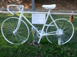 A ghost bike was set up for Milton Olin, an attorney who was fatally struck by a sheriff's deputy's patrol car in Calabasas on Dec. 8, 2013. This photo was provided by his family's lawyer.