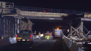 Crews were on the scene making repairs to a bridge that partially collapsed due to a big rig crash. (Credit: KTLA)