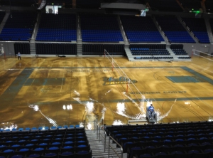Pauley Pavilion was flooded by a water main break that spewed water across much of the UCLA campus on July 29, 2014. (Credit: KTLA)