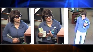 """The """"Bombshell Bandit"""" is shown in surveillance images provided by the FBI."""