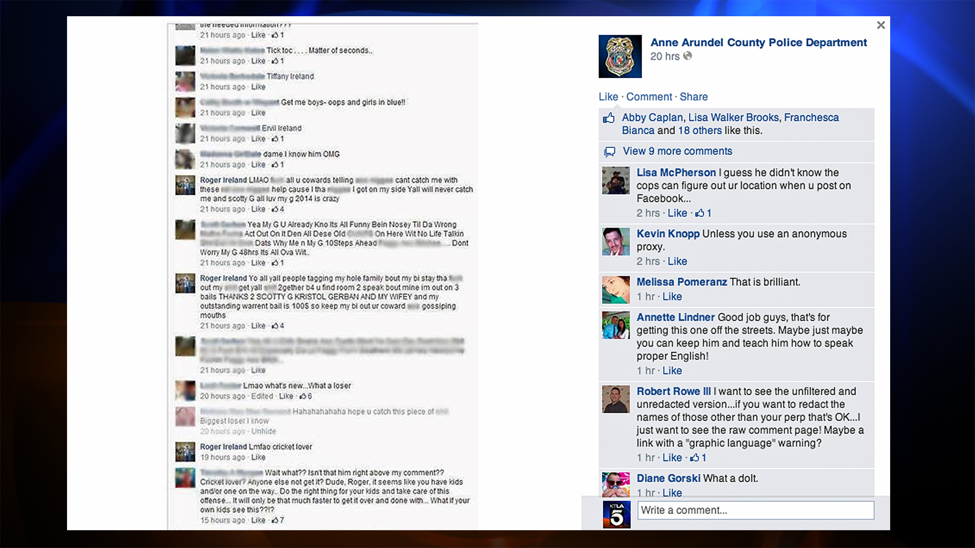 An image of the thread Roger Ireland allegedly participated in was posted on the Anne Arundel County Police Department Facebook page.