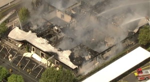 Animo South Los Angeles Charter High School appeared nearly gutted by a fire July 22, 2014. (Credit: KTLA)