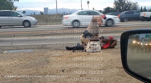 Video shot by a motorist showed a CHP officer throwing a woman to the ground, straddle her body and repeatedly punching her. (Credit: David Diaz)