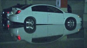 Hundreds of cars were trapped or damaged in flooding parking garages at UCLA on July 30, 2014. (Credit: KTLA)
