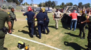 A construction worker was electrocuted and a second worker was hospitalized after coming into contact with exposed electrical wires at Mission Viejo High School. (Credit: Steve Concialdi, OCFA)