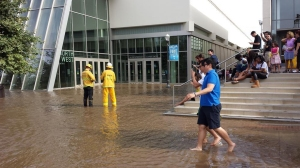 Students were walking through the waters, despite warnings that it should be avoided. (Credit: Vu Pham)