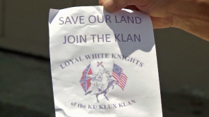 Fliers urging Orange residents to join the Loyal White Knights of the Ku Klux Klan appeared at homes in Orange in the week of July 13, 2014. (Credit: KTLA)