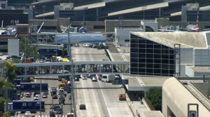 Traffic was being diverted at LAX on July 24, 2014. (Credit: KTLA)