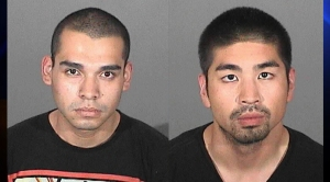 Arnulfo Rodarte, left, and Sylvester Curameng were arrested after being seen on surveillance video at a Target in San Pedro, authorities said. (Credit: Los Angeles County Sheriff's Department.)