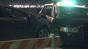 Street racing was being investigated as the cause of two crashed in Long Beach on July 21, 2014. (Credit: KTLA)