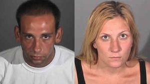 Gus Adams, left, and Andrea Miller, right, are seen in photos provided by the Long Beach Police Department.