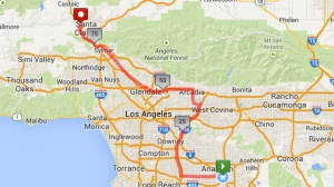 Roy Wiegand planned to run from Angel Stadium in Anaheim to the Michael Hoeffin Foundation in Santa Clarita on July 4, 2014. (Credit: mapmyrun.com)