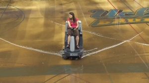 Pauley Pavilion, UCLA's famed basketball venue that was the subject of a recent renovation, was flooded when a water main broke under Sunset Boulevard on July 29, 2014. (Credit: KTLA)