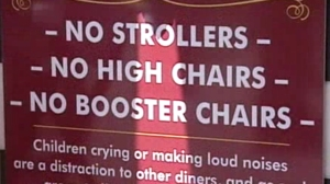 A sign outside Shake's Old Fisherman's Grotto in Monterey, California advises restaurants that no strollers, high chairs or booster chairs are allowed inside. (Credit: KSBW)