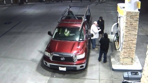 A screen grab from surveillance video shows the moment before John Faust was attacked at a gas station in San Bernardino on Tuesday, June 24, 2014.