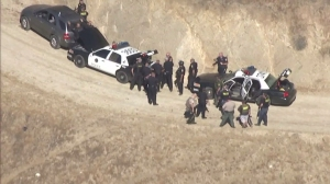 A massive search for a gunman took place in Moreno Valley July 22, 2014. (Credit: KTLA)