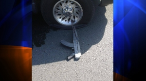 Authorities said this weapon was recovered after a fatal bank robbery and pursuit in Stockton, Calif., on Wednesday, July 16, 2014. (Credit: Stockton Police Department)