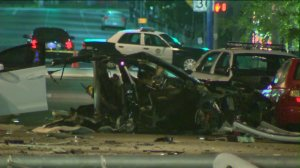 A Tesla was involved in a bad crash in West Hollywood that left multiple people injured. (Credit: KTLA)