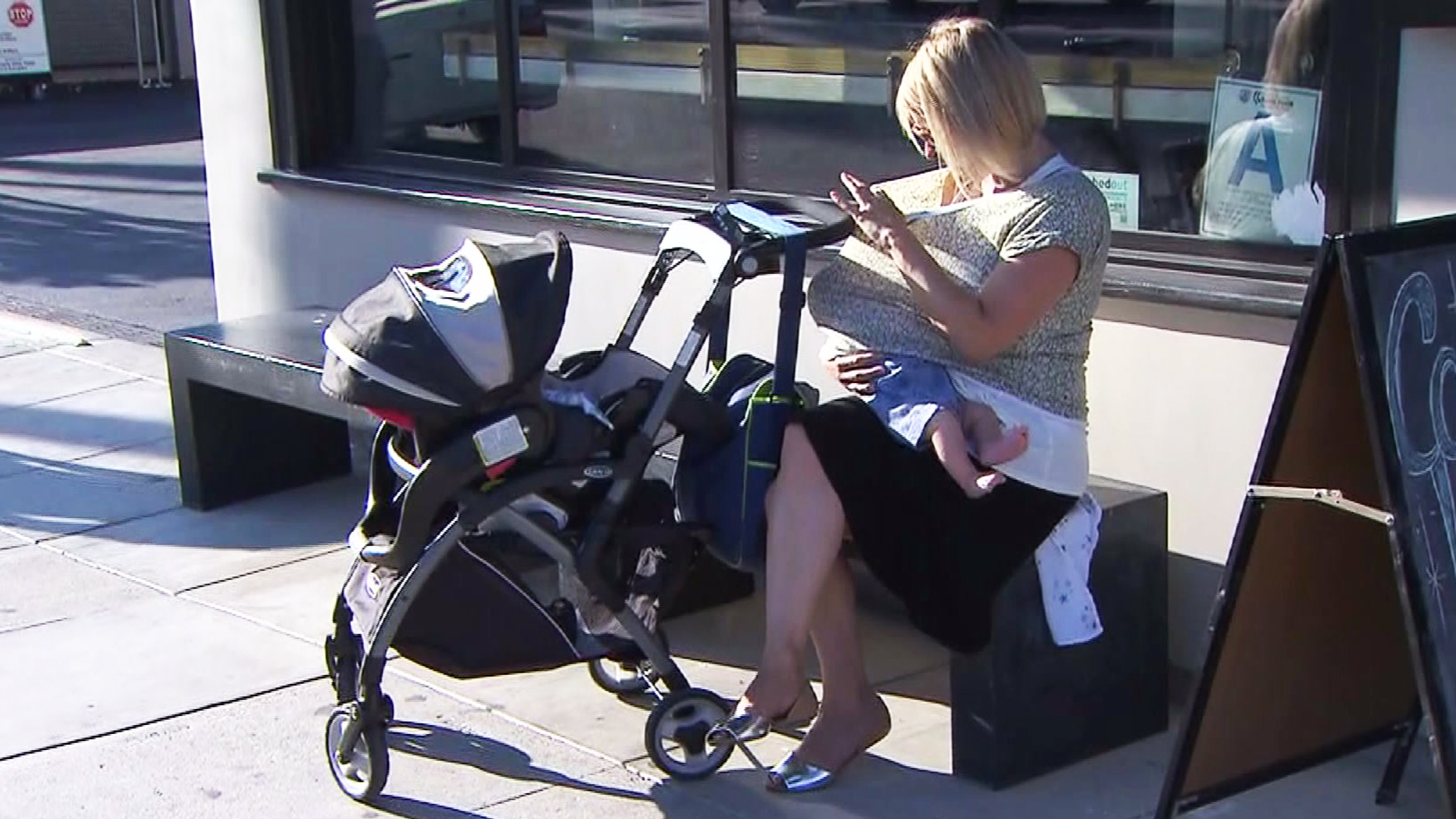 Ingrid Wiese-Hesson says she was nursing her baby in the back of the Beverly Hills Anthropologie store when she was escorted to the restroom. (Credit: KTLA)