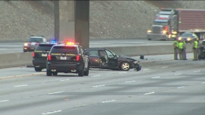 One person died and another was detained after a wrong-way crash on the 210 Freeway in Azusa on  Saturday, Aug. 9, 2014. (Credit: KTLA)