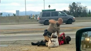 Video shot by a motorist showed a CHP officer throwing a woman to the ground, straddling her body and repeatedly punching her on July 1, 2014. He was later identified as Daniel Andrew; she was identified at Marlene Pinnock. (Credit: David Diaz)