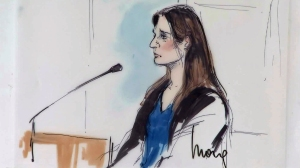 A courtroom drawing of Aurora Barrera during her sentencing on Aug. 6, 2014. (Credit: Mona S. Edwards)