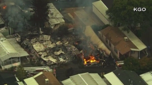 Fire erupted at a Napa Valley complex following a large quake in the region on Aug. 24, 2014. (Credit: KGO)