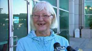 Marilyn Hartman spoke to reporters outside Airport Courthouse on Aug. 6, 2014. (Credit: KTLA)