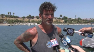 Jason Wischmann described his ordeal after being found by a fellow boater. (Credit: KTLA)