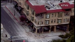 A building in Napa was damaged following a 6.0 earthquake in the area on Aug. 24, 2014. (Credit: KTVU)