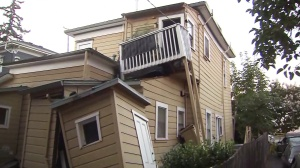 A building in Napa sustained major damages after a 6.0 earthquake hit the area on Aug. 24, 2014. (Credit: KTLA)