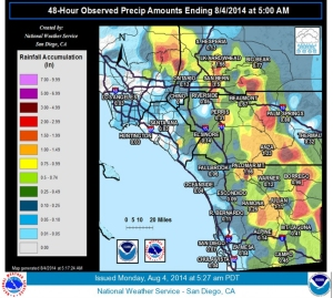 A graphic shows rainfall of between 3 and 5 inches in some mountain areas in the 48-hour period that ended 5 a.m. Monday, Aug. 4, 2014. (Credit: National Weather Service)