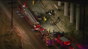 Two people were killed in a crash on San Fernando Road in Sylmar. (Credit: KTLA)