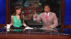 Chris Schauble and Megan Henderson react to an earthquake during a live broadcast. (Credit: KTLA)
