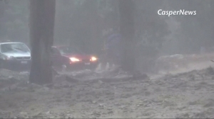 Heavy rain led to flash flooding and triggered mudslides in San Bernardino County on Aug. 3, 2014. (Credit: Casper News)