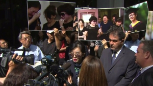 Rose Tsai, an attorney for Xinran Ji's family, speaks outside a court hearing on Aug. 11, 2014. (Credit: KTLA)
