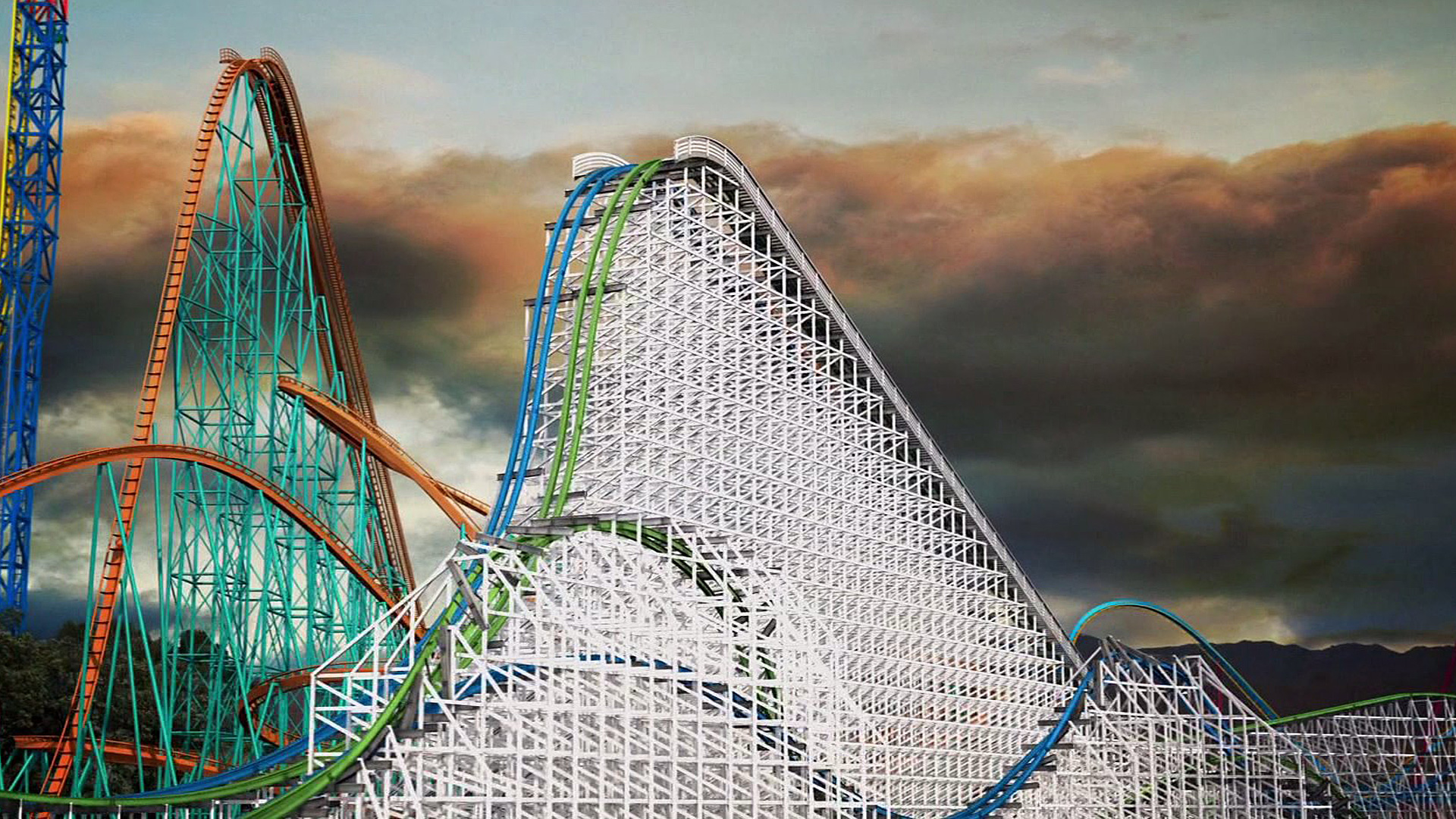 A preview image of Twisted Colossus provided by Six Flags Magic Mountain.