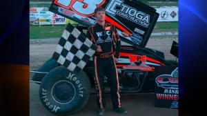 Kevin Ward Jr., 20, died from injuries suffered from an accident which occurred Saturday night at the Empire Super Sprints series event at the Canandaigua Motorsports Park. He was struck by Tony Stewart's car. (Credit: Empire Super Sprints via CNN)
