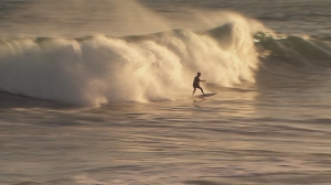 Waves up to 25 feet were expected at The Wedge in Newport Beach on Aug. 27, 2014. (Credit: KTLA)