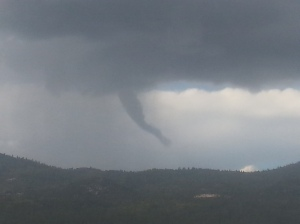 A funnel cloud moved over the Big Bear area about 4:30 p.m. on Sept. 16, 2014. (Credit: Ryan Whitcher)