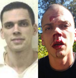 Police issued arrested Aaron Lewis Sept. 29, 2014, in connection with the disappearance of Arkansas realtor Beverly Carter four days earlier. He is shown at right after a car crash where he was taken into custody. Images provided by Pulaski County Sheriff via CNN.
