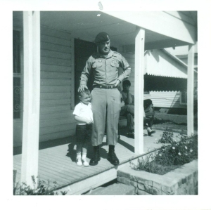 Then-Sgt. 1st Class Major Bennie G. Adkins poses for a photo with his son, Wayne, at the Airborne School at Fort Bragg, N.C. (Credit: U.S. Army/CNN)