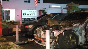 Four cars were destroyed and one was damaged in the fire on Sept. 10, 2014. (Credit: Newsreel)