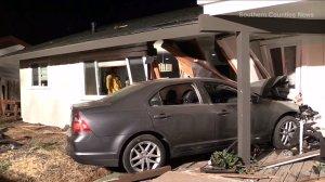 A home sustained major damage after a car crashed into it on Sept. 9, 2014. (Credit: KTLA)