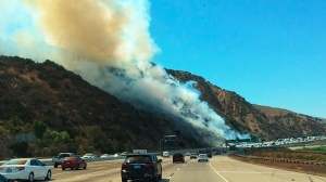 A brush fire closed all lanes on the 91 Freeway on Wednesday, Sept. 10, 2014. (Credit: Lisa Lynn)