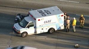 A CHP officer was injured in a crash on the 405 Freeway in Seal Beach Tuesday morning. (Credit: KTLA)
