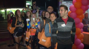 Fans lined up in Santa Monica for the Dunkin' Donuts grand opening on Sept. 2, 2014. (Credit: KTLA)