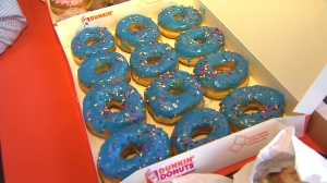 Dunkin' Donuts created a special doughnut for the grand opening of a new store in Santa Monica on Sept. 2, 2014. (Credit: KTLA)